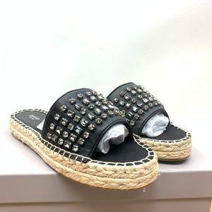 Botkier Julie Jeweled Stone Black Leather Sandal